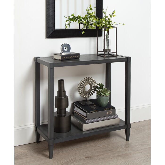 Kate And Laurel Rio Wood Console Table With Tapered Legs Shelf Dark Grey