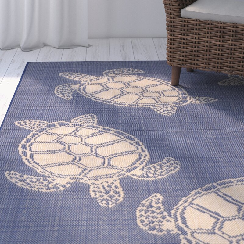 Clatterbuck Seaturtle Navy Beige Indoor Outdoor Area Rug