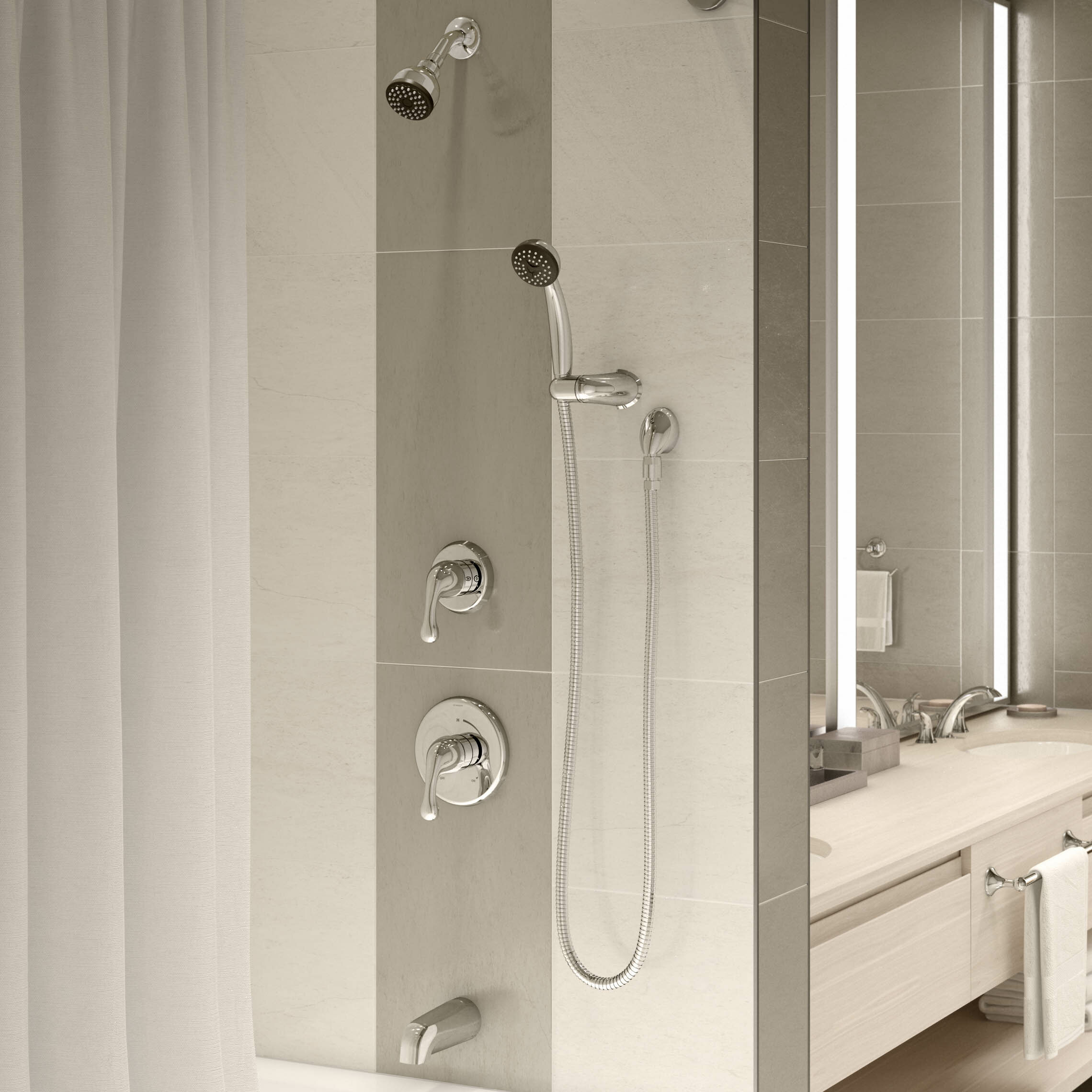 Unity Tub and Shower Faucet with Stops