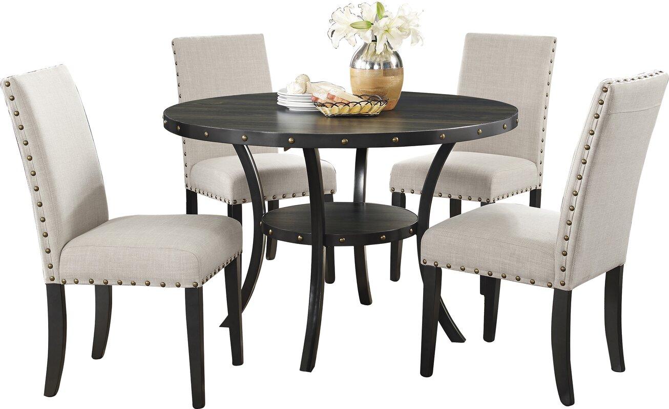 Roundhill Furniture Biony Espresso 5 Piece Dining Set & Reviews ...