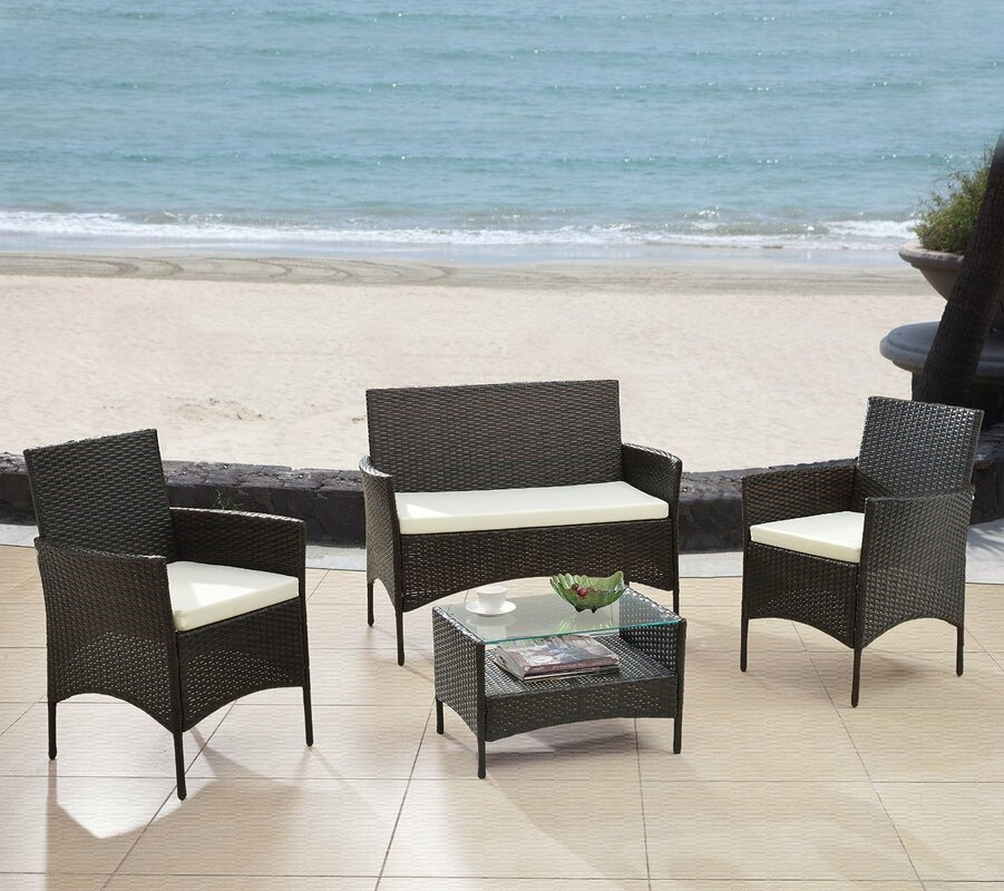Wade Logan Woodland Park Piece Patio Deep Seating Group With - Woodland patio furniture