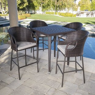 Ching Outdoor 5 Piece Bar Height Dining Set with Cushions & Modern u0026 Contemporary Bar Height Outdoor Table | AllModern