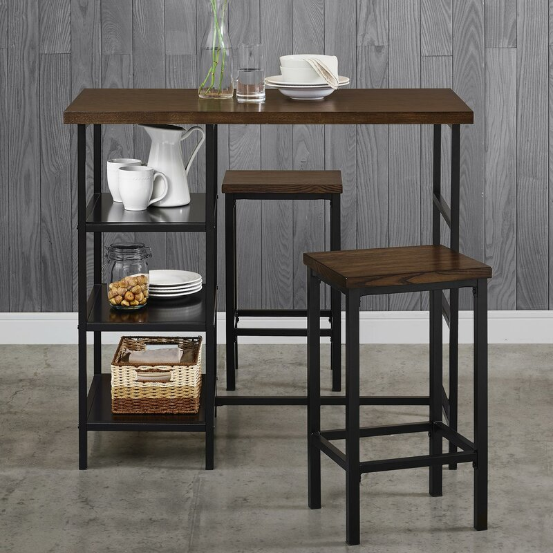 du bois 3 piece pub table set reviews allmodern. Black Bedroom Furniture Sets. Home Design Ideas