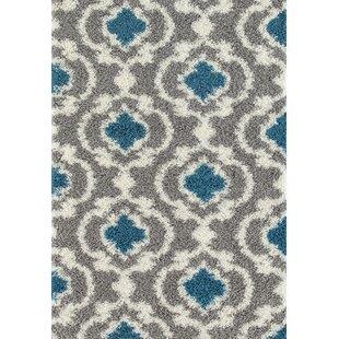 Hegwood Moroccan Trellis Gray Turquoise Area Rug