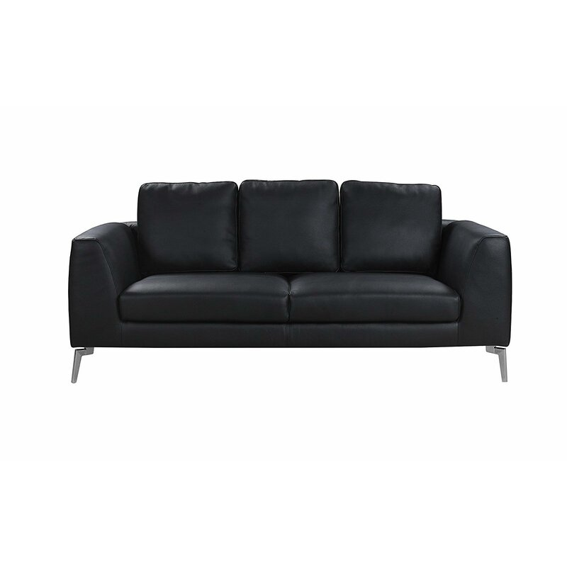 Orren Ellis Wrayon Mid-Century Modern Plush Top Grain Leather Sofa ...