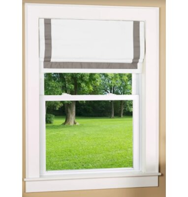 Beachcrest Home Indoor Cordless Blackout Roman Shade Size: 34 W x 63 L, Color: Gray/White