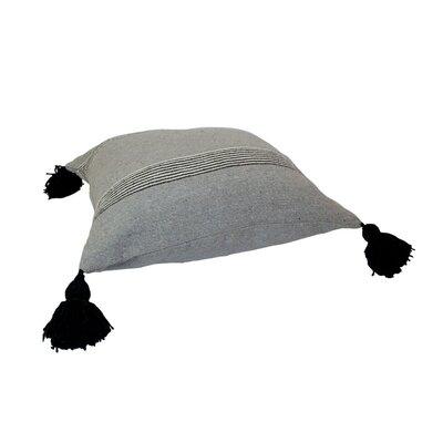 Mistana Juno Pom Pom Pillows Color: Black and White Stripes on Gray