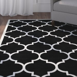 Standridge Moroccan Trellis Design Black/White Area Rug
