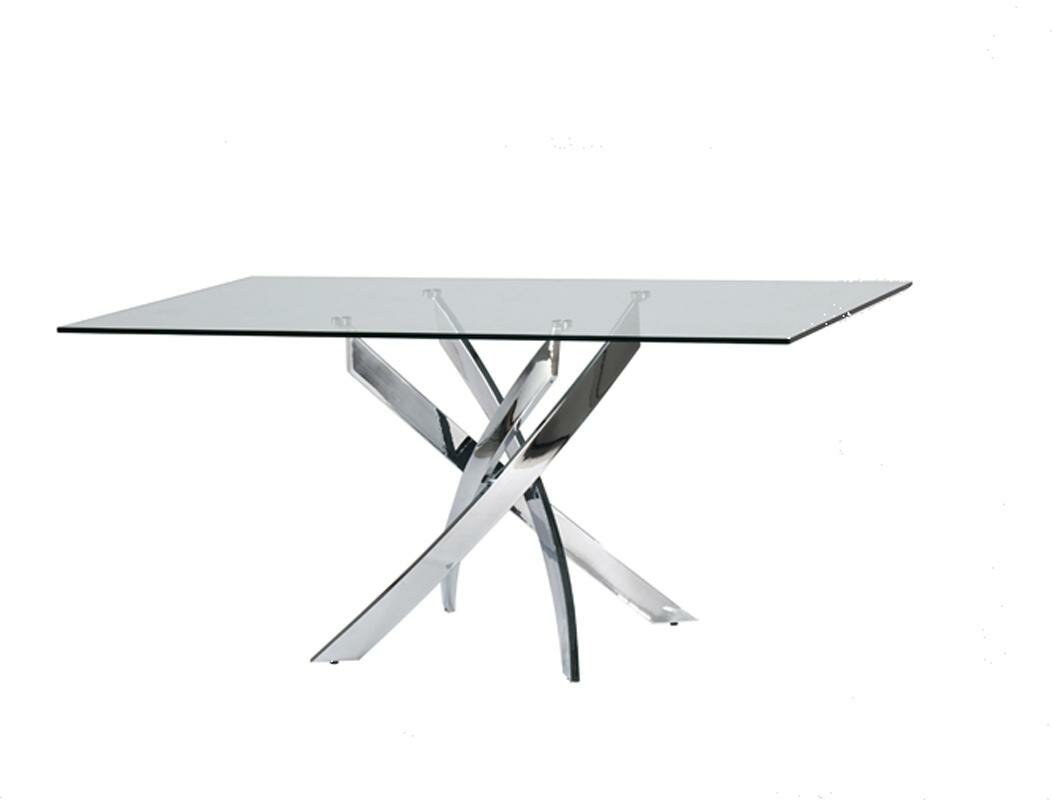 Charming Camron Modern Glass Top Metal Base Dining Table