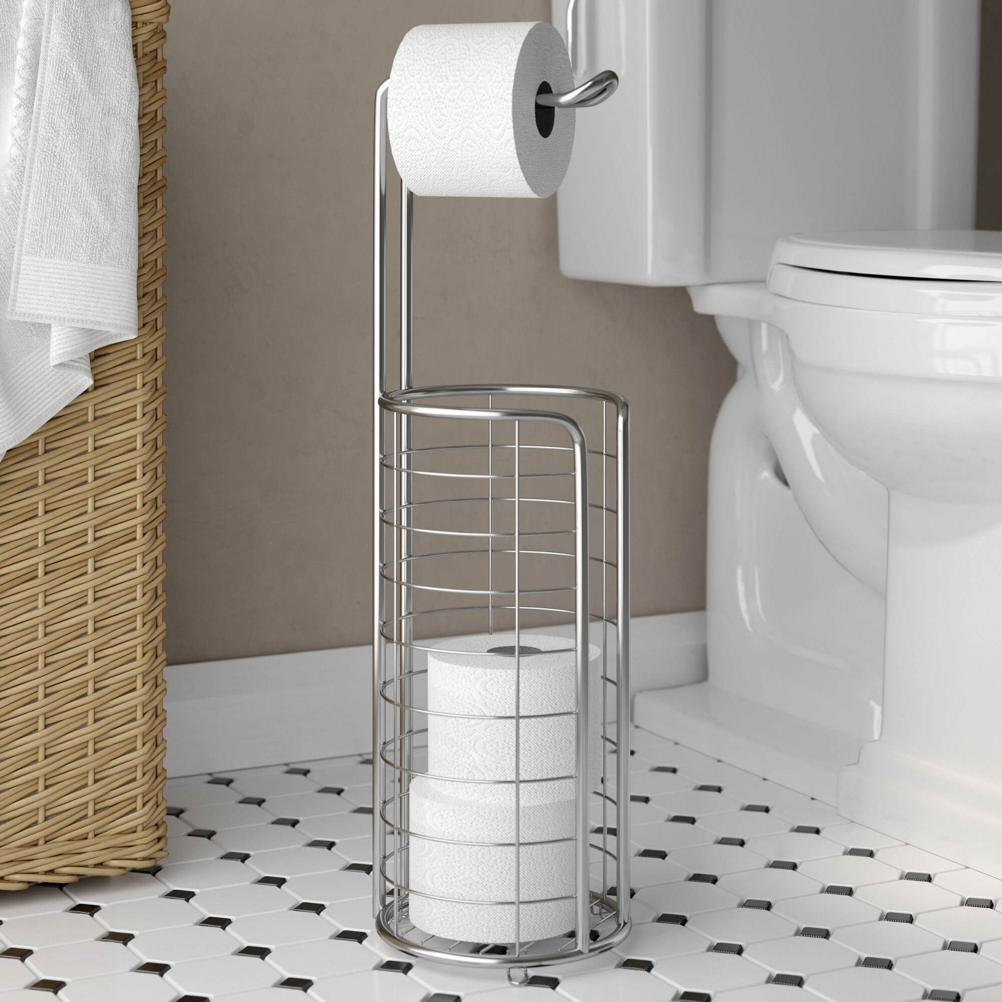 Rebrilliant Eisele Free Standing Toilet Paper Holder Reviews Wayfair