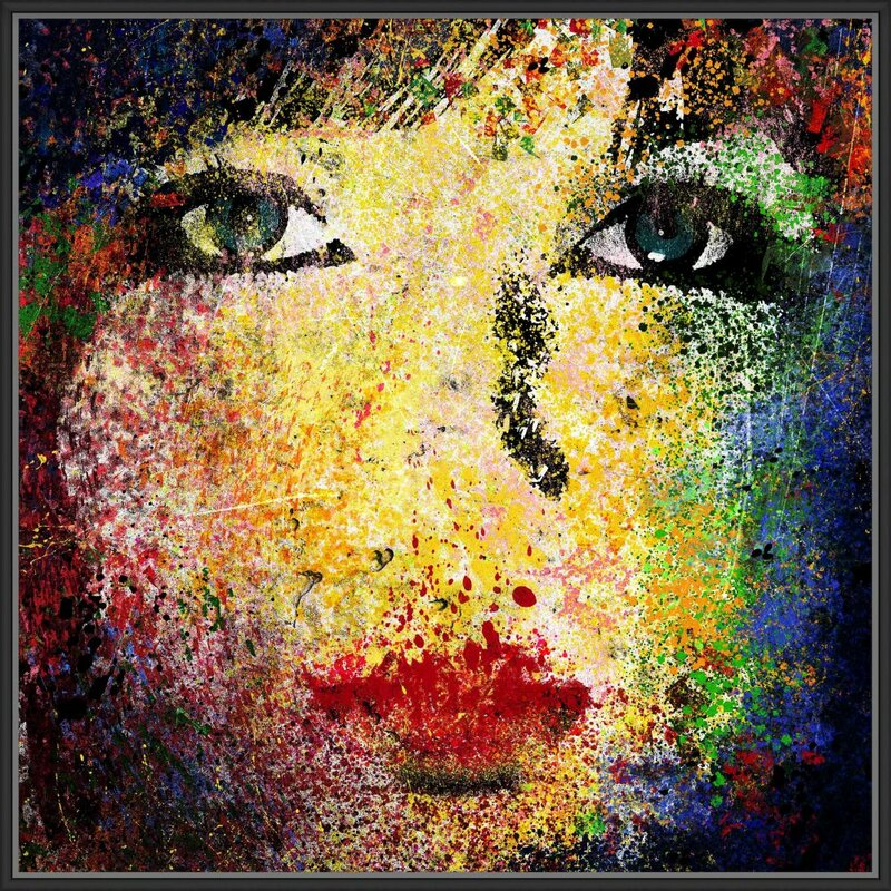 'Abstract Woman IV' Framed Acrylic Painting Print on Canvas