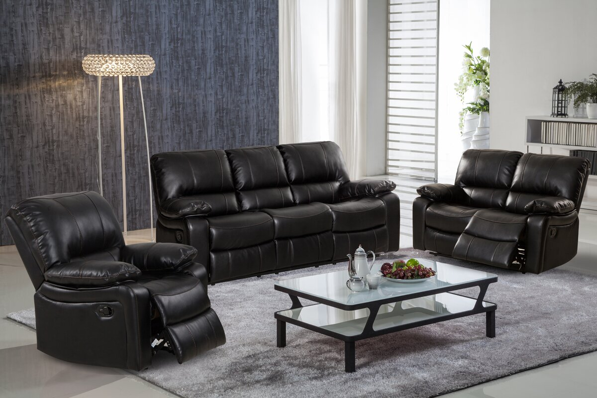 living in style layla 3 piece leather gel reclining living room set reviews. Black Bedroom Furniture Sets. Home Design Ideas