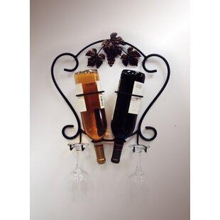 2 Bottle Wall Mounted Wine Rack