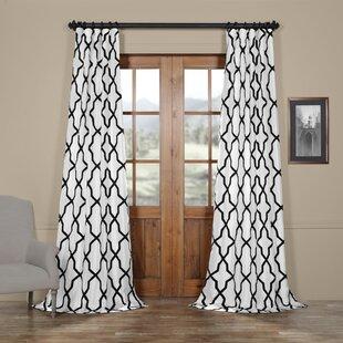 Merseles Pinnacle Flocked Faux Silk Single Curtain Panel