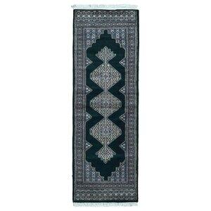 Ewen Bukhara Oriental Hand-Woven Wool Black Area Rug