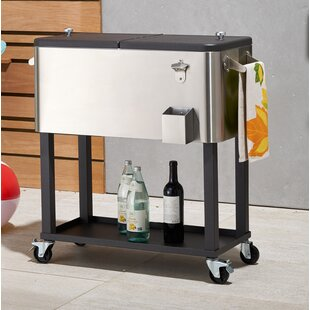 80 Qt. Stainless Steel Rolling Cooler With Cover
