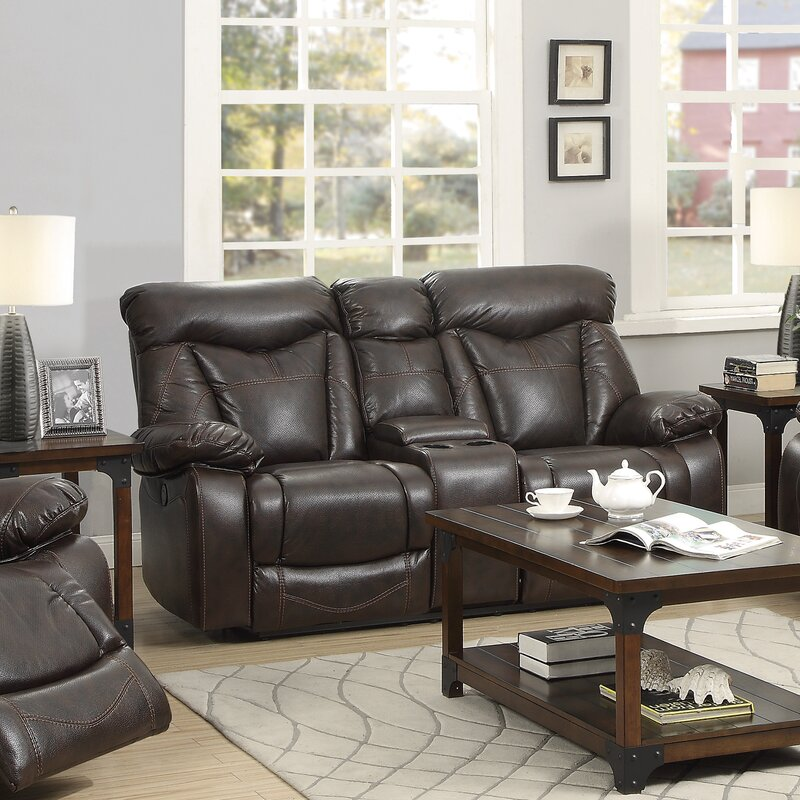 Loon Peak Pomona Motion Leather Reclining Sofa Reviews Wayfair