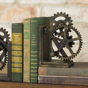 Industrial Gear Sculptural Iron Book End Set Of 2