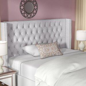 candice upholstered wingback headboard cream grey
