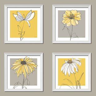 Yellow flower wall art wayfair beautiful gray and yellow flower 4 piece framed graphic art print set mightylinksfo