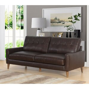 Annalise Wright Mid-Century Leather Sofa by Corrigan Studio