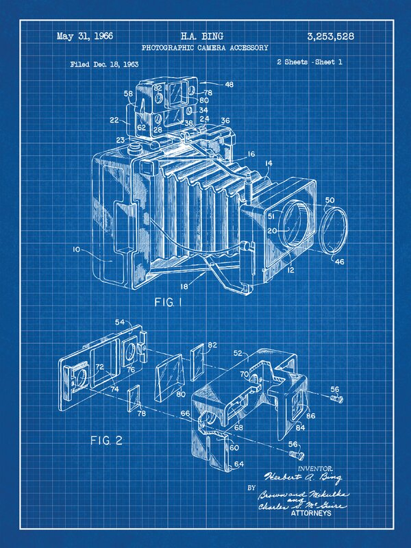 Inked and screened photographic camera blueprint graphic art photographic camera blueprint graphic art malvernweather Images