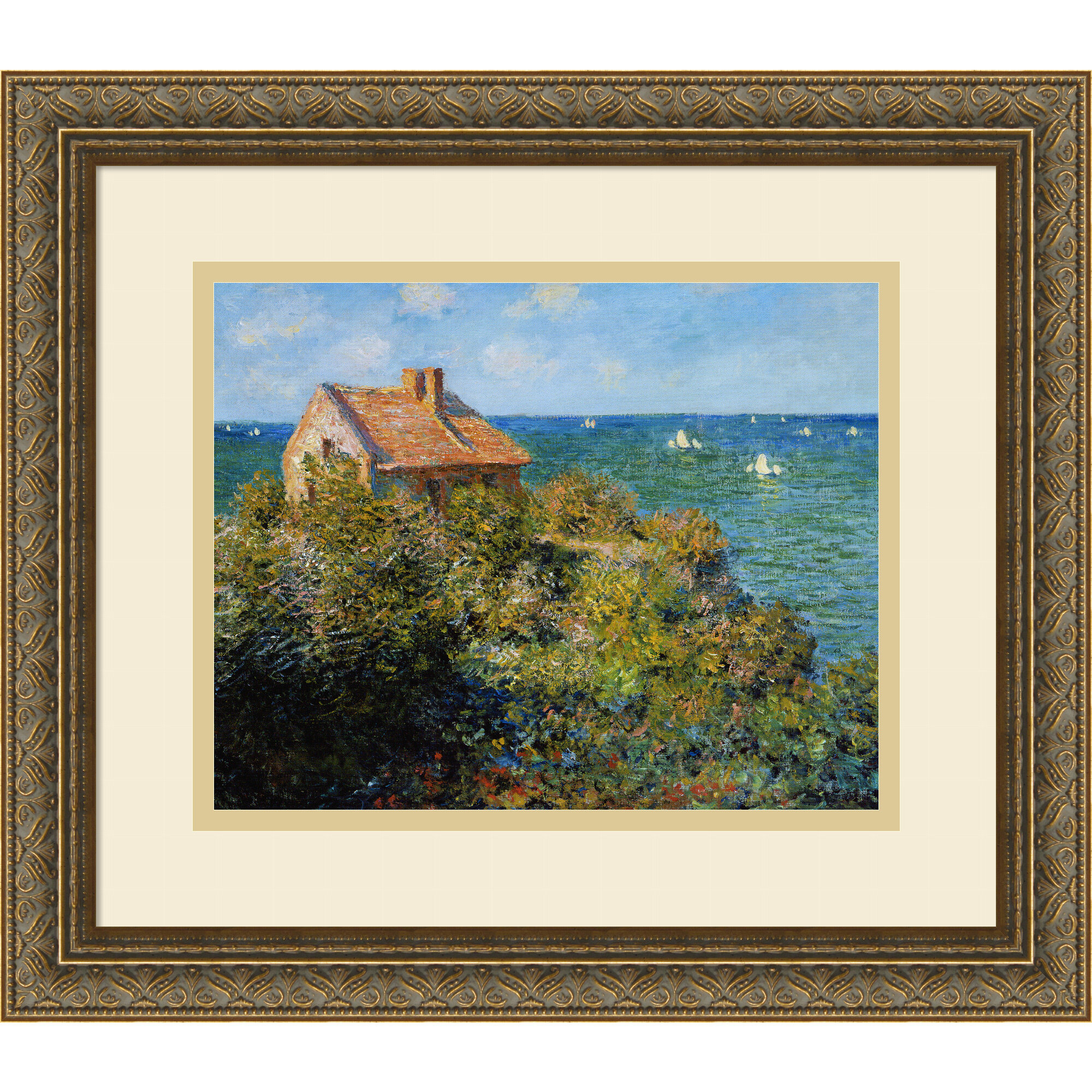 68a369186f6 Amanti Art  Fishermans Cottage on the Cliffs at Varengeville  by Claude  Monet Framed Painting Print