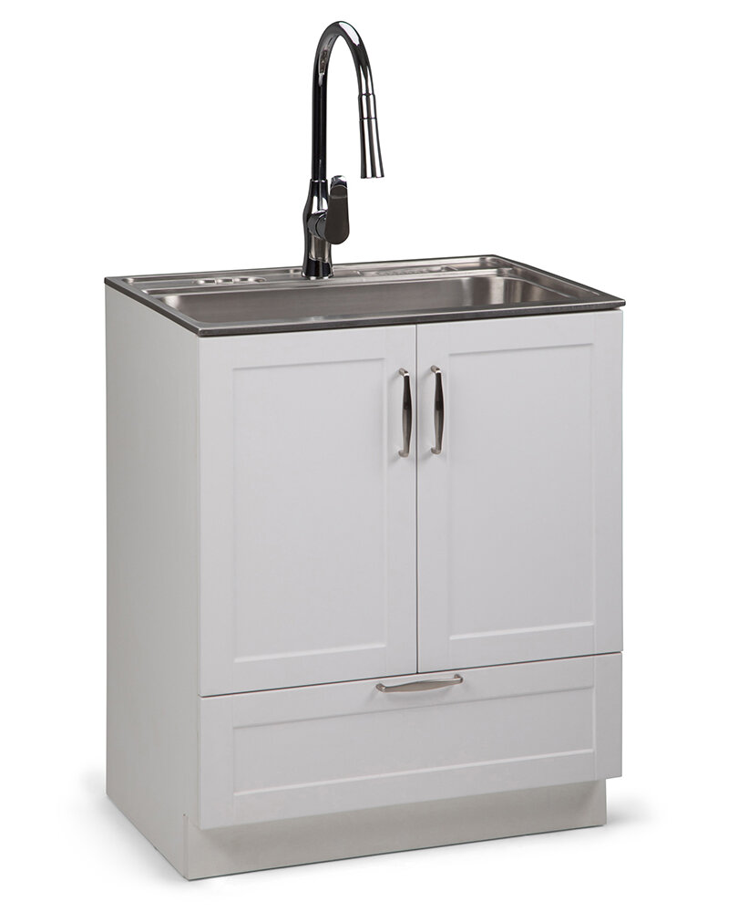 Darby Home Co Bostick 28 X 19 Freestanding Laundry Sink With Faucet Wayfair