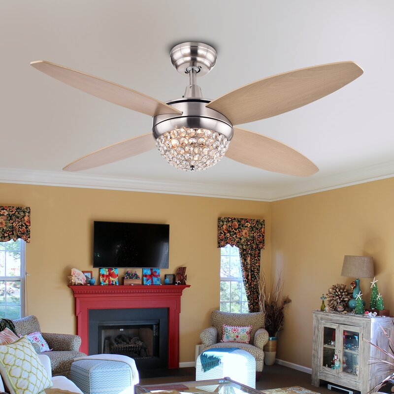 Balavis Wood Nickel Crystal 4 Blade Ceiling Fan With Remote Part 88