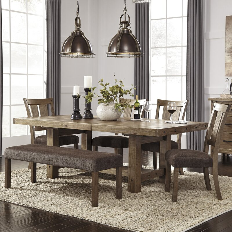 Dining Room Table With Bench Entrancing Loon Peak Etolin 6 Piece Dining Set & Reviews  Wayfair Design Ideas