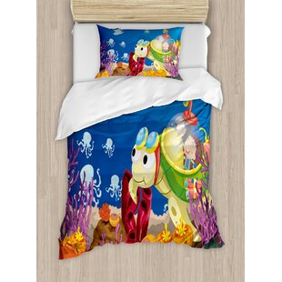 Turtle Funny Cartoon Character Carrying Kids Underwater Reef Octopus  Nursery Decor Duvet Set