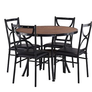Caran Modern Round 5 Piece Dining Table Set by Red Barrel Studio