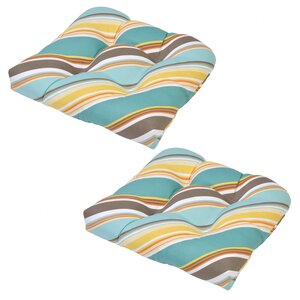 Allegra Stripe Tufted Outdoor Seat Cushion (Set of 2)