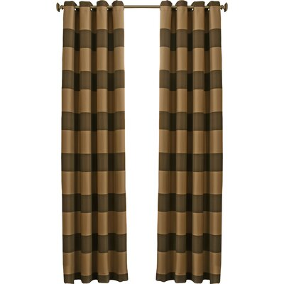 Beautyrest Gaultier Striped Max Blackout Grommet Single Curtain Panel Color: Chocolate, Size per Panel: 52 W x 108 L