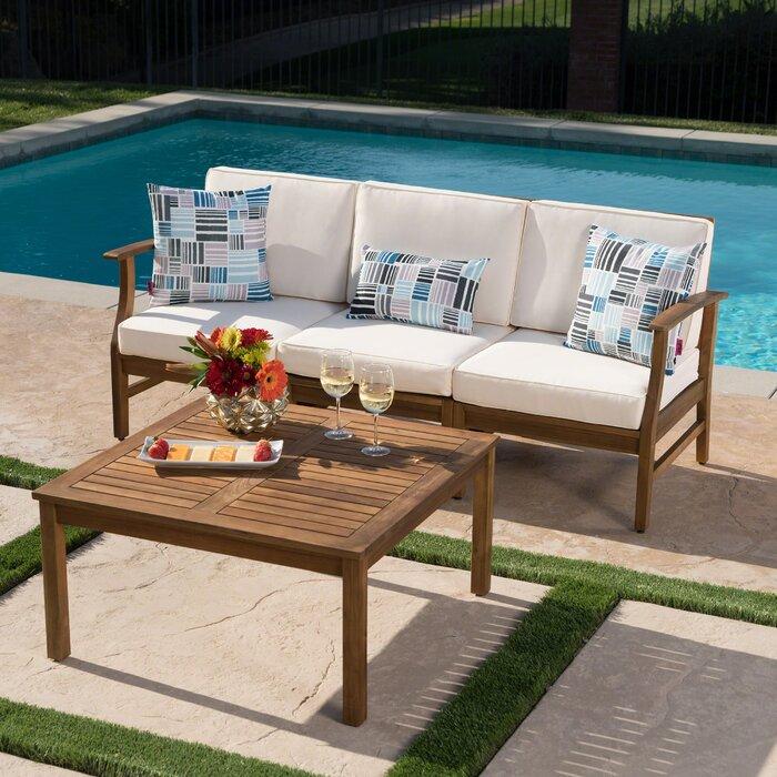 Antonia Outdoor 2 Piece Sofa Set with Cushions