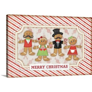 'Gingerbread Christmas' by Jennifer Pugh Graphic Art on Wrapped Canvas