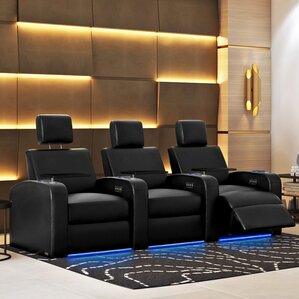 Power Recline Leather Home Theater Sofa (Row of 3) & Theater Seating Youu0027ll Love | Wayfair islam-shia.org