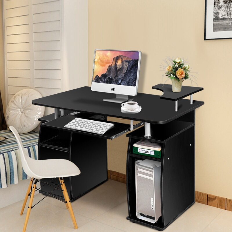 A Moveable Computer Desk That Retains You Nicely Organized Carlie Computer Desk with Hutch