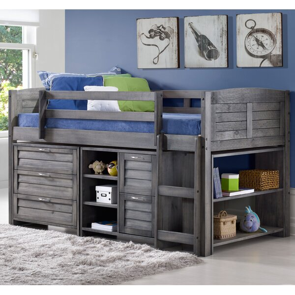 Evan Twin Low Loft Slat Bed With Bookcase, Chest And