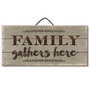 Family Gathers Here Pallet Wood Sign Wall Décor