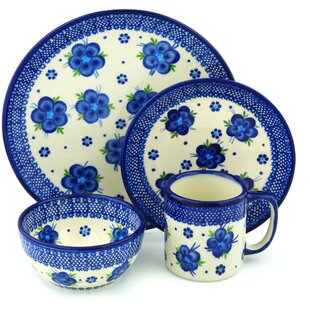 Fleur Polish Pottery 4 Piece Place Setting Service for 1  sc 1 st  Wayfair & Polish Pottery Dinnerware | Wayfair
