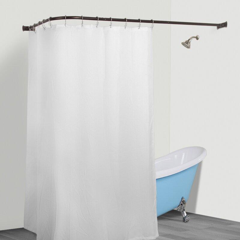 utopiaalley aluminum rustproof 66 l shaped fixed shower curtain rod reviews. Black Bedroom Furniture Sets. Home Design Ideas
