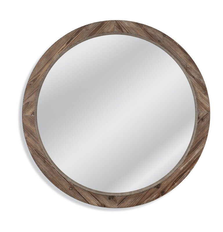 Right Angle Union : Union rustic booker round wood wall mirror reviews wayfair