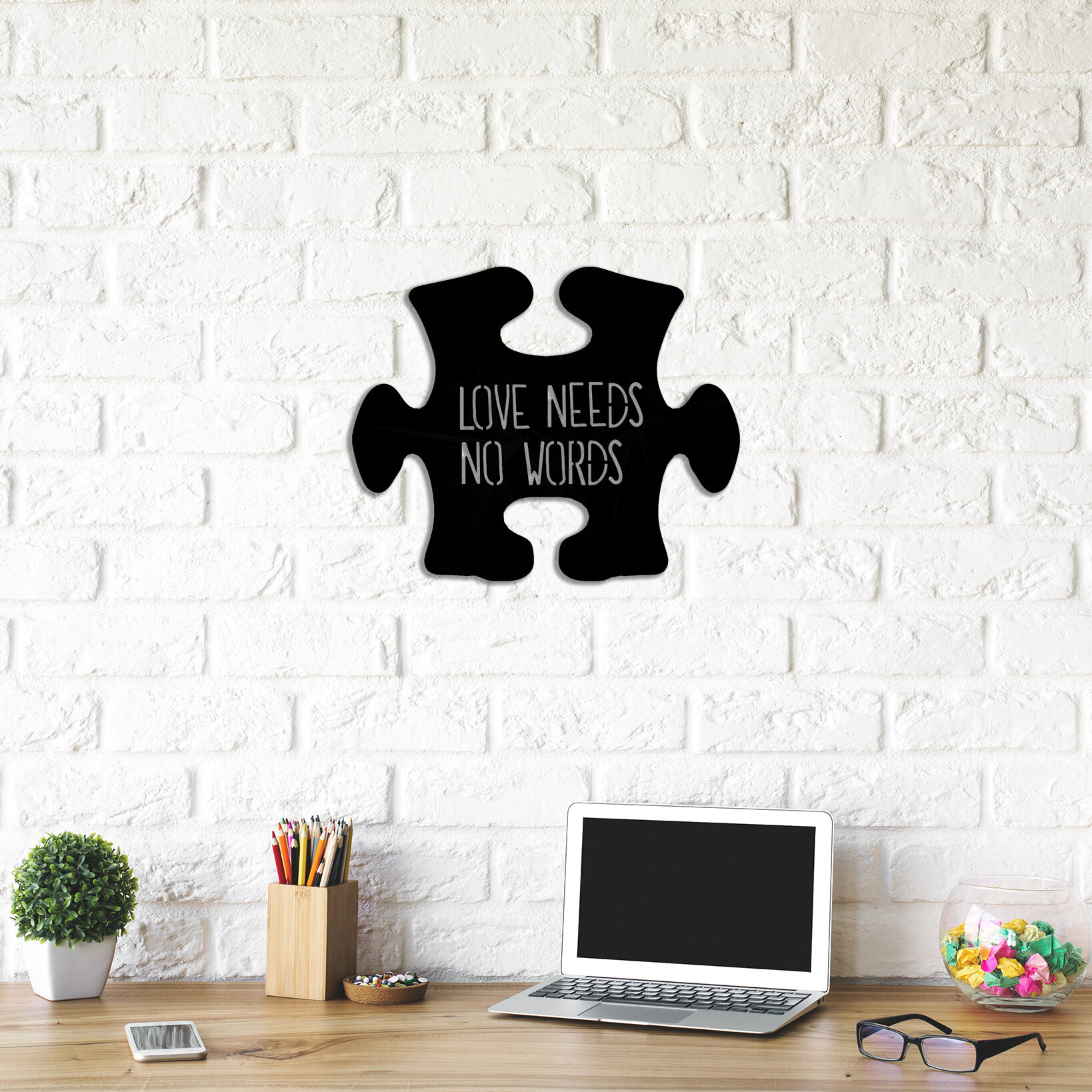 Winston Porter Love Puzzle Metal Wall Decor