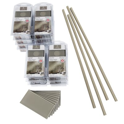 Aspect 3 x 6 Glass Peel & Stick Subway Tile Kit in Putty