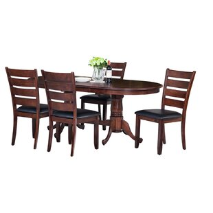 Doretha Traditional 5 Piece Solid Wood Dining Set with Curved Back Chair