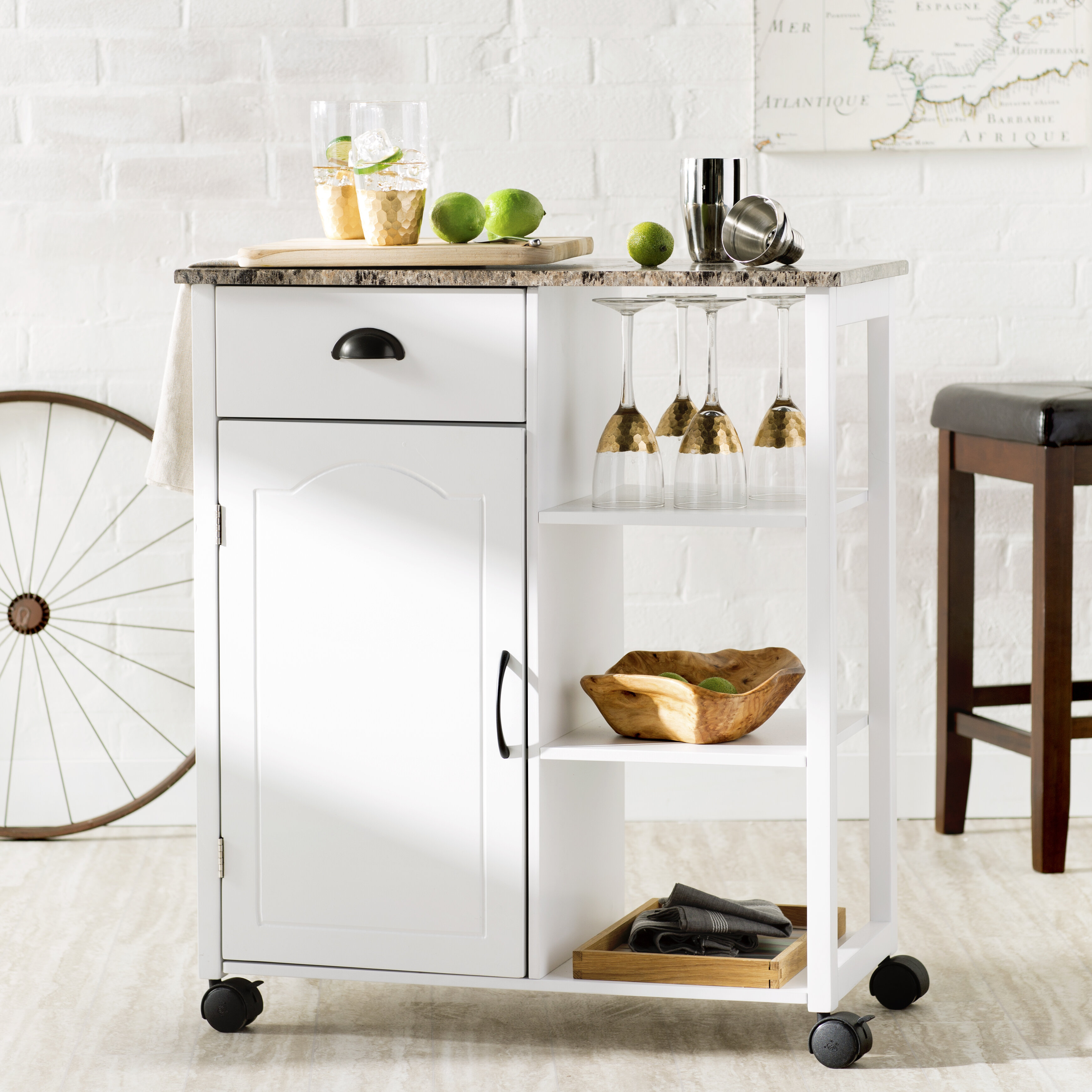Attirant Andover Mills Tillie Kitchen Cart With Marble Top U0026 Reviews | Wayfair