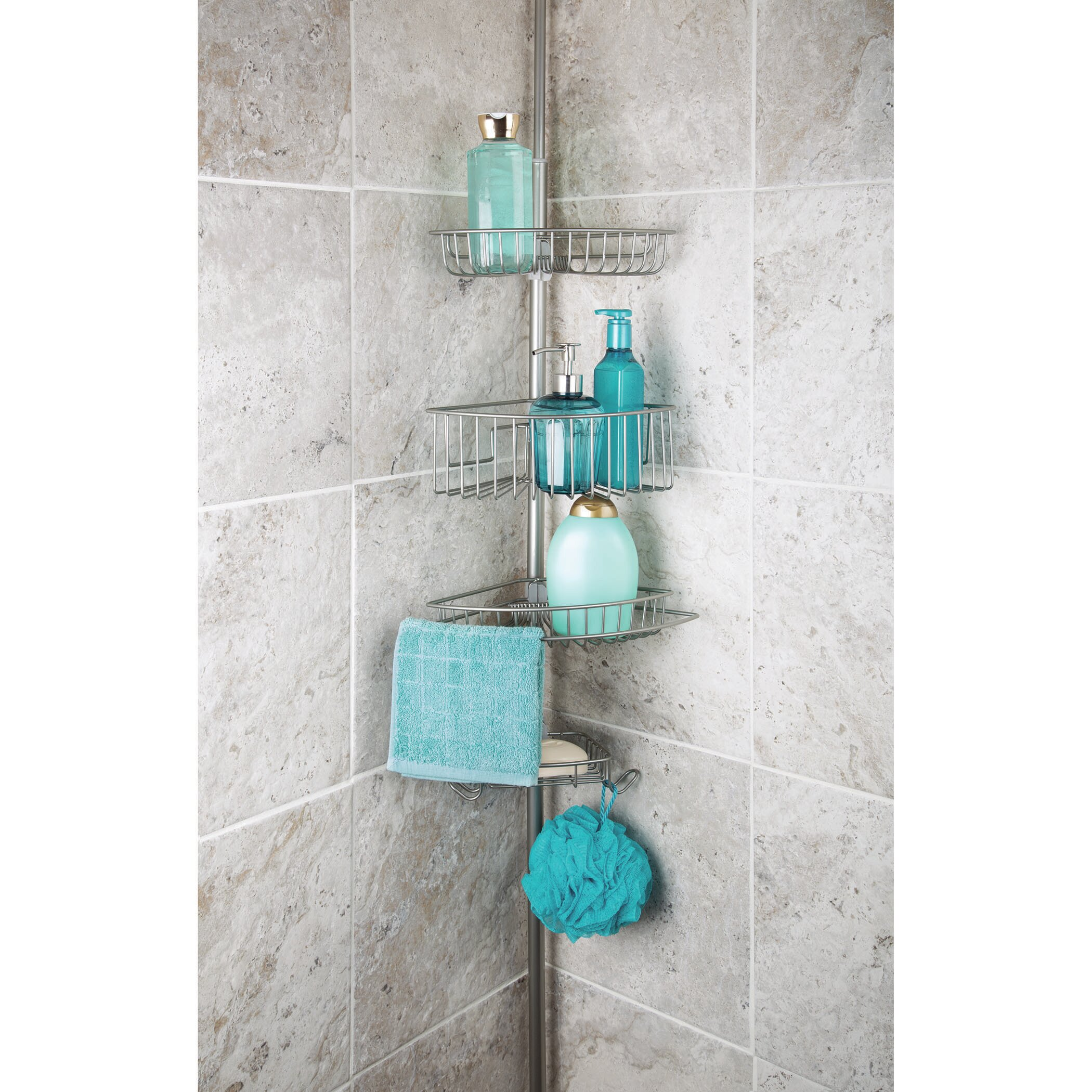 Rebrilliant Callum 3 Tier Corner Tension Pole Shower Caddy with Soap ...