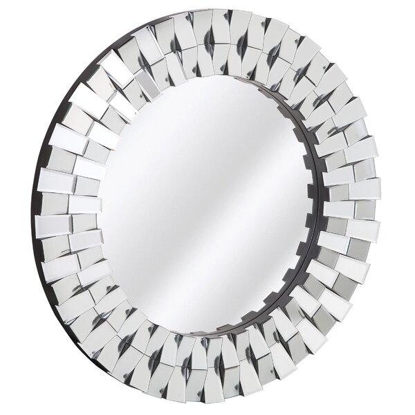majestic mirror decorative round wood frame with beveled mirror panels u0026 reviews wayfair