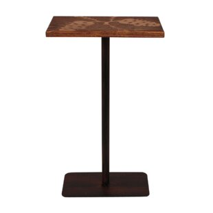 Hailey Wood Top Pine Cone Accent Pub Table